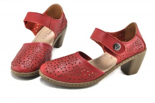 Pantofi rosii din piele naturala Judy