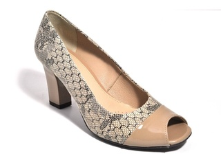 Pantofi bej cu imprimeu din piele naturala M Shoes