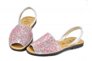 Sandale Avarca Glitter roz, din piele naturala