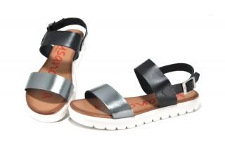 Sandale negre - argintii Xusandalia din piele naturala