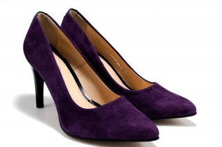 Pantofi mov din piele naturala