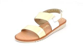 Sandale alb - aurii In shoes, din piele naturala