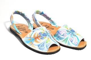Sandale Avarca multicolore-albastru, din piele naturala