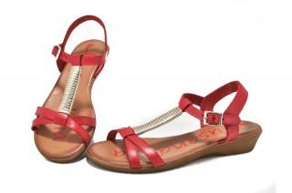 Sandale rosu corai Xusandalia din piele naturala