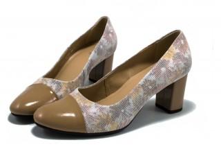 Pantofi bej cu varf de lac din piele naturala M Shoes