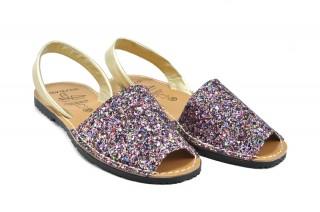 Sandale Avarca glitter multicolor, din piele naturala