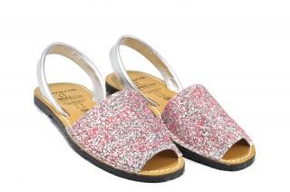 Sandale Avarca Glitter roz, piele naturala