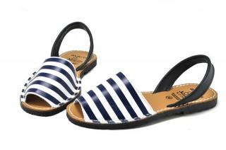 Sandale Avarca Blue Stripes, din piele naturala