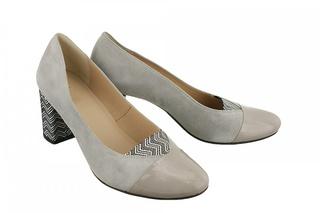 Pantofi gri cu varf de lac din piele naturala M Shoes