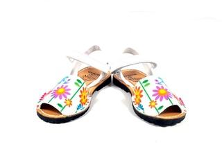 Sandale Avarca, albe, cu motive florale, din piele naturala