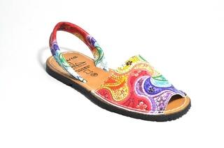 Sandale Avarca multicolore Ida, piele naturala