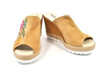Sandale bej Myltho, cu platforma, din piele naturala
