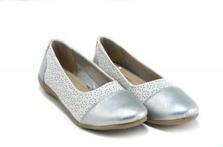 Balerini alb cu argintiu din piele naturala Greta