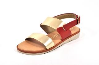 Sandale rosu - aurii In shoes, din piele naturala