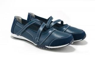 Pantofi albastri din piele naturala