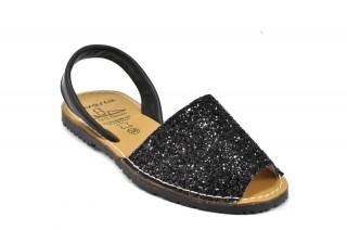 Sandale Avarca glitter negru, din piele naturala