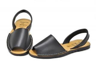 Sandale negre Avarca, din piele naturala