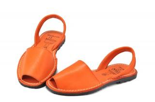 Sandale portocalii Avarca Gail, din piele naturala