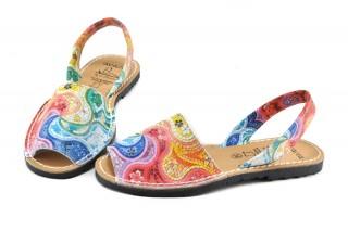 Sandale Avarca multicolore, din piele naturala