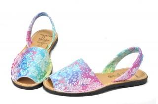 Sandale Avarca multicolore-flowers, din piele naturala