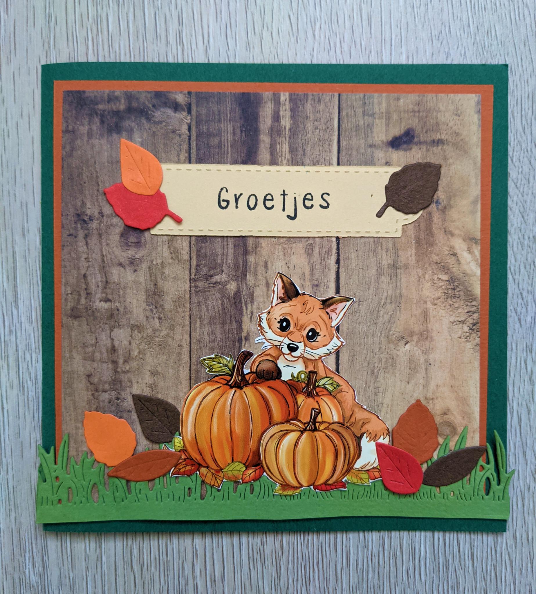 Herfst kaart met vos
