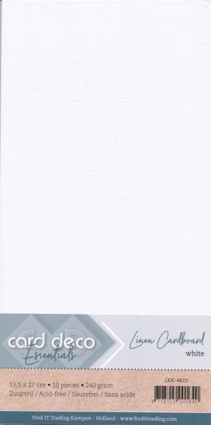 Card Deco linnen karton 13.5 x 27 cm wit, 10 stuks