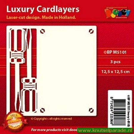 Doodey oplegkaarten schroevendraaiers 3 stuks ivoor BPM5101 (Locatie: K123)