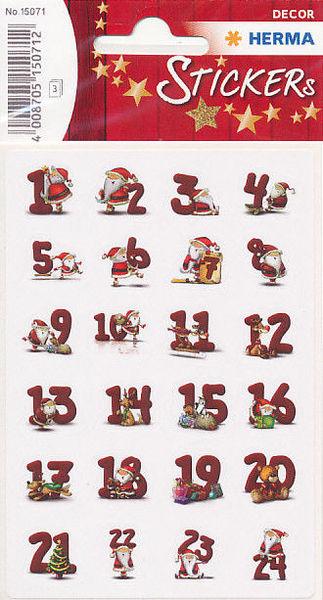 Herma stickers kerst adventscijfers 3 vel 15071 (Locatie: U184)