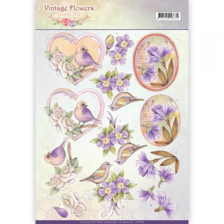 Jeanine's Art knipvel vintage fowers CD11048 (Locatie: 5544)