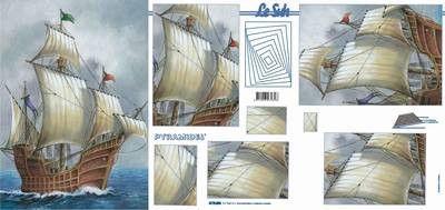 Le Suh pyramide 3D schilderij zeilschip in A4 formaat 4178006 (Locatie: 2792)