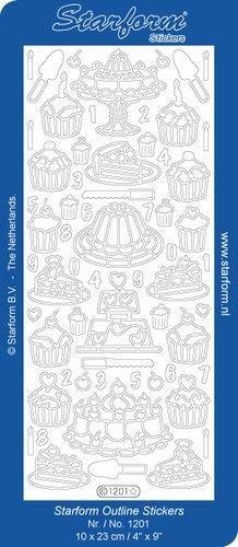 Starform sticker taart zilver 1201 (Locatie: H446 )