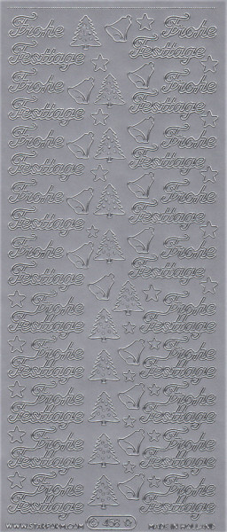 Starform stickervel Frohe Festtage zilver 458 (Locatie: a279)
