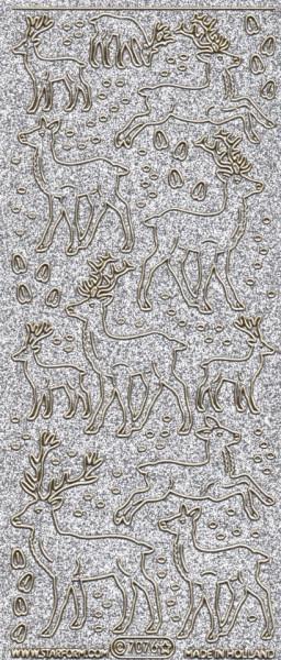Starform stickervel rendieren glitter zilver 7076 (Locatie: c004)