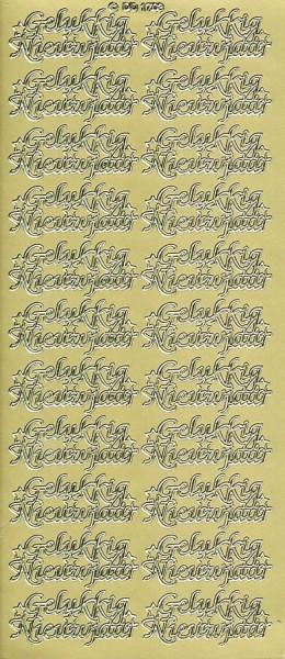 Stickervel Gelukkig Nieuwjaar goud DD1703 (Locatie: U054)