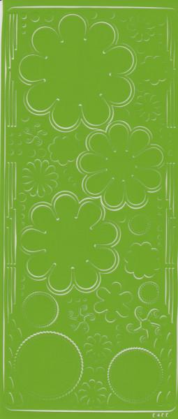 Stickervel licht groen bloemen 0400 (Locatie: S105 )