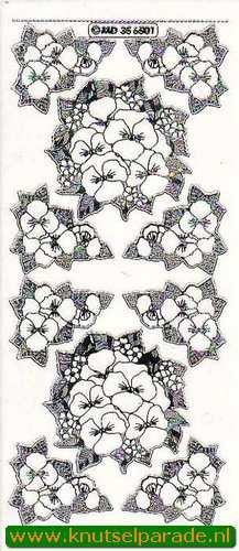 Stickervel transparant zilver bloemen MD356501 (Locatie: R049 )