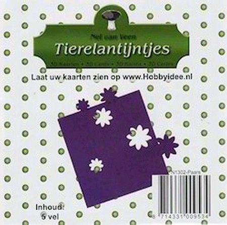 Tierelantijntje kartonnen deco-bloemen uit stansvellen 5 vel paars N1302 (Locatie: N212 )