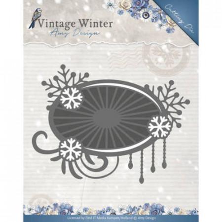 Amy Design snijmal Vintage Winter - Snowflake Swirl Label ADD10124 (Locatie: M031)