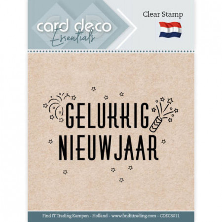 Card Deco Clear Stamp Gelukkig Nieuwjaar CDECS011 (Locatie: NN286)