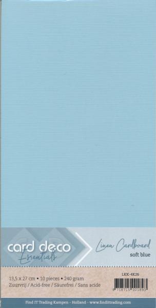 Card Deco linnen karton 13.5 x 27 cm zacht blauw, 10 stuks