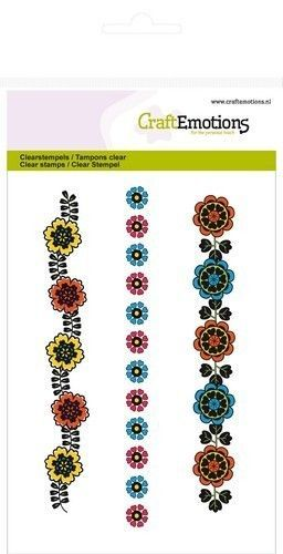 CraftEmotions clearstamps A6 - bloemenrand Folklore 130501/1031 (Locatie: NN008)