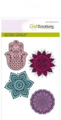 CraftEmotions clearstamps A6 - hand, bloem ornament Happiness 130501/1083 (Locatie: NN014)
