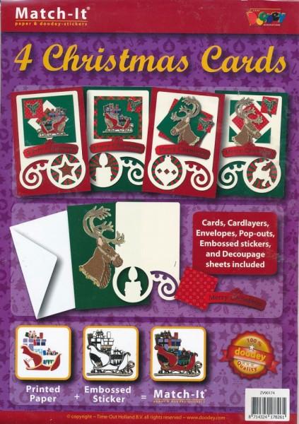 Doodey kaartenpakket om 4 kerstkaarten te maken ZV90174 (Locatie: 4428)