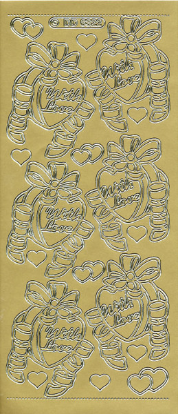 Doodey stickervel hartjes en strikken goud DD6322 (Locatie: H410 )