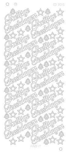 Find It stickervel glanzend zilver prettige feestdagen CD3015 (Locatie: e005)