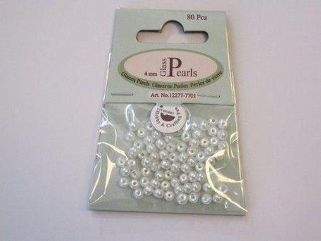 Glasparels rond 4 mm wit 80 stuks 12277-7701 (Locatie: K3)