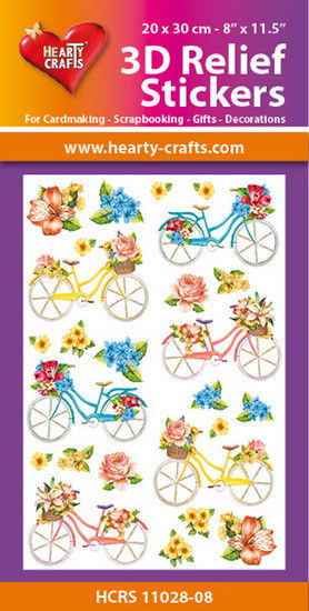Hearty Crafts 3D Relief Stickers Bicycles A4 HCRS11028-10 (Locatie: 6737)