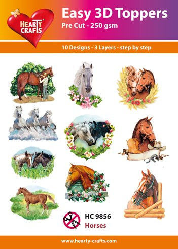 Hearty Crafts Easy 3D Toppers Horses HC9856 (Locatie: K2)