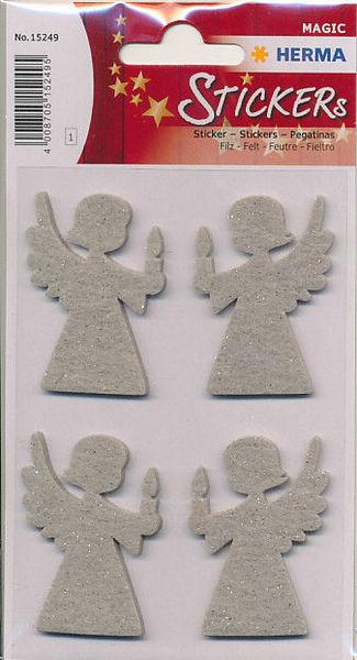 Herma stickers kerstengel vilt glitter 1 vel 15249 (Locatie: U185)