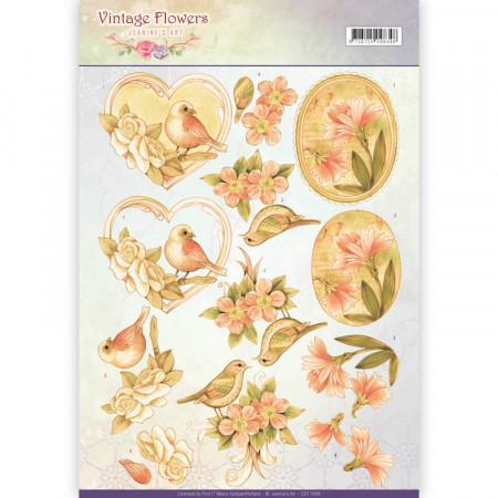 Jeanine's Art knipvel vintage flowers CD11049 (Locatie: 5545)